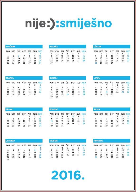 Kalendar za 2016. godinu Nije :): smiješno